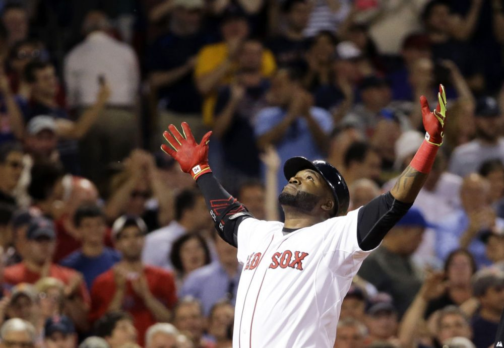 Red Sox designated hitter David Ortiz reacts after hitting a two-run homer during the sixth inning of a game against the Baltimore Orioles at Fenway, Wednesday, June 24, 2015 (Elise Amendola/AP)