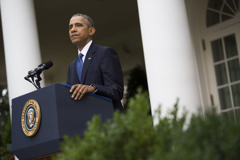 U.S. President Barack Obama delivers a statement after the U.S. Supreme Court ruled that same-sex couples have a constitutional right to marry nationwide, in the Rose Garden of the White House, on June 26, 2015 in Washington, D.C. On Friday, President Obama is traveling to Charleston, South Carolina to deliver the eulogy at the funeral service for Rev. Clementa Pinckney. (Drew Angerer/Getty Images)