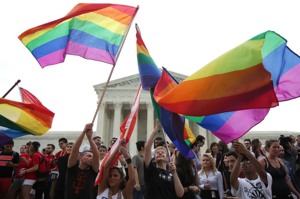 Same-sex marriage supporters rejoice after the U.S Supreme Court hands down a ruling regarding same-sex marriage June 26, 2015 outside the Supreme Court in Washington, D.C. The high court ruled that same-sex couples have the right to marry in all 50 states. (Alex Wong/Getty Images)