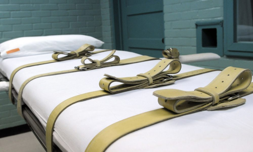 The gurney used to restrain condemned prisoners during the lethal injection process is shown in Huntsville, Texas. The U.S. Supreme Court, ruled lethal injection is legal in a 5-4 opinion ruled on June 29, 2015. (Pat Sullivan/AP Photo)