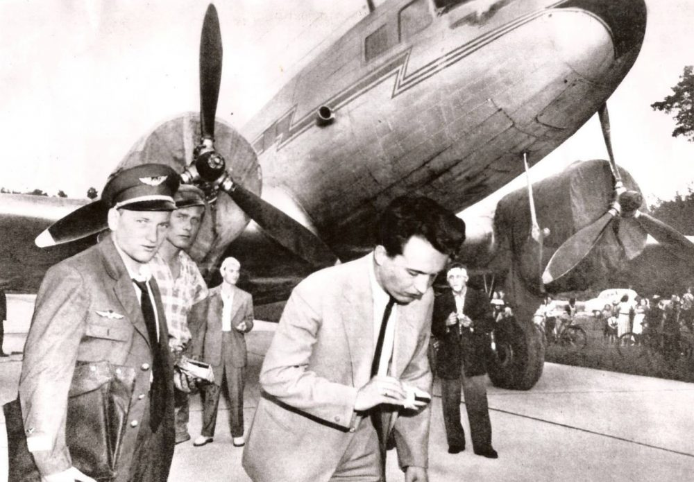 """The aircraft, identified as """"HA-LIG,"""" is parked on the tarmac of the Manching NATO Airbasw in Ingolstadt, W. Germany  on  Friday 13,  July 1956.  (www.freedomplane.com)"""
