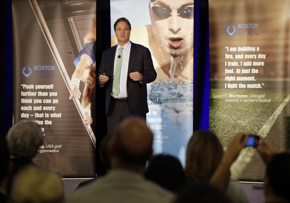 "Boston 2024 Chair Steve Pagliuca speaks during the release of the group's ""Bid 2.0"" at the Boston Convention and Exhibition Center on Monday. (Stephan Savoia/AP)"