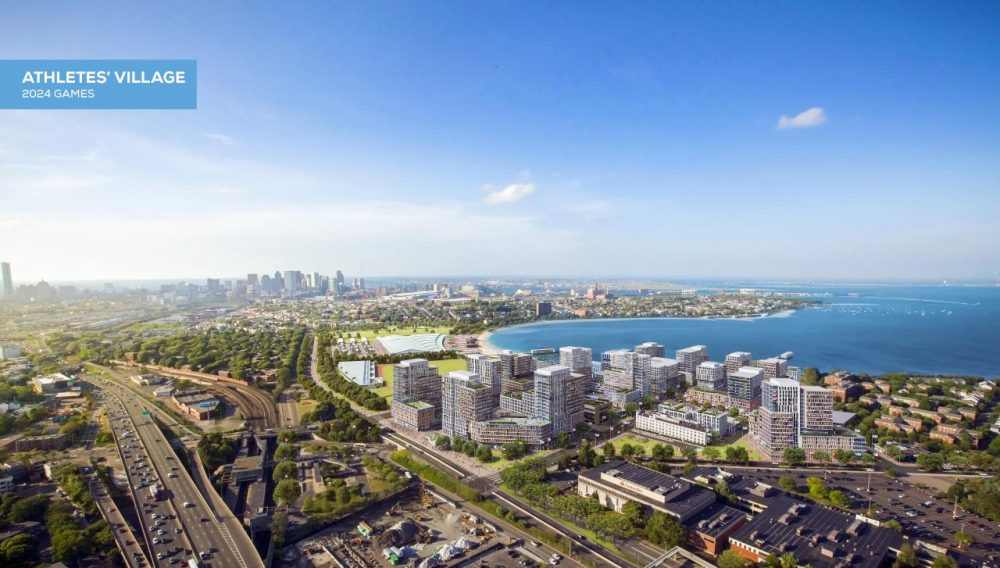 Architect's rendering shows an athletes' village that is proposed to be built in Boston if the city is awarded the Summer Olympic games in 2024. (Elkus Manfredi Architects for Boston 2024 via AP)
