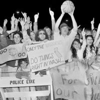 """Steve Almond: """"It makes watching games a lot of fun. It's something we can share. But I also worry that I've made a grave mistake."""" Pictured: More than 3,000 fans were on hand to greet the Golden State Warriors as they returned to San Francisco, May 26, 1975, after handing the Washington Bullets a 96-95 loss to take four straight games and the NBA championship title. Forty years later, the Warriors are back in the Finals, this time against the Cleveland Cavaliers. (RB/AP)"""