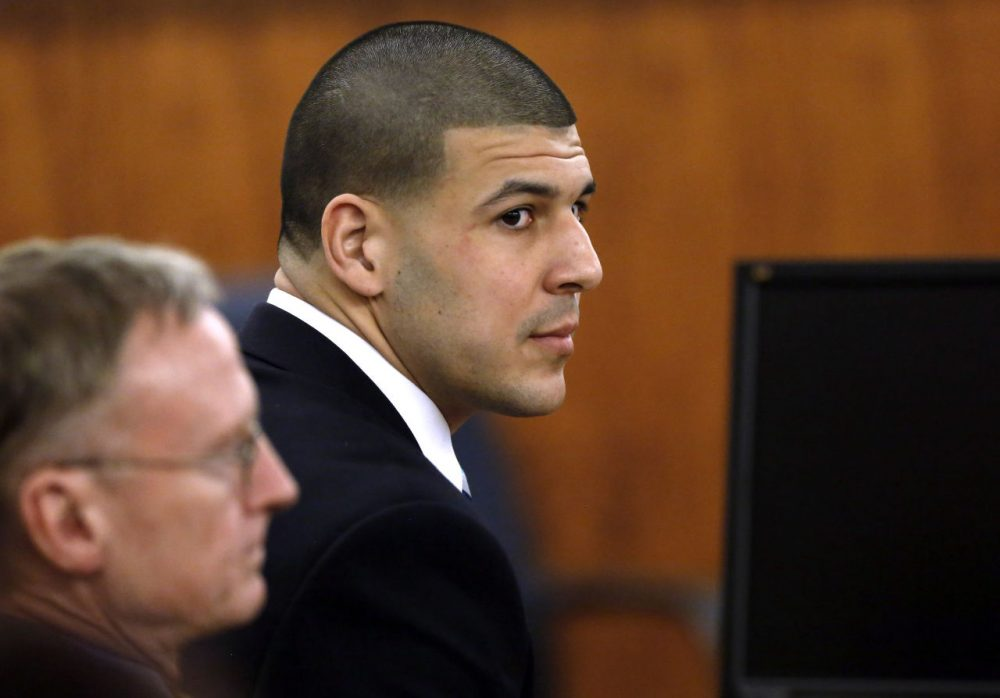 Former New England Patriots football player Aaron Hernandez at his trial in April. (Steven Senne/AP)