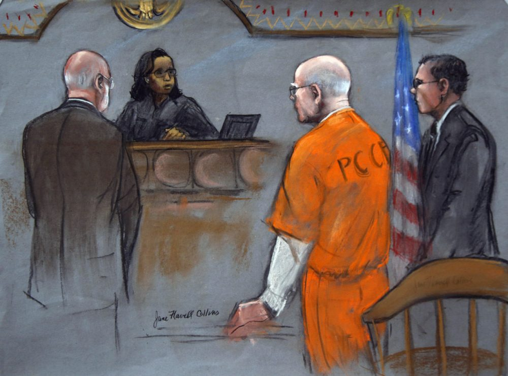 """James """"Whitey"""" Bulger is depicted in this 2013 courtroom sketch alongside his attorneys. (Jane Flavell Collins/AP)"""