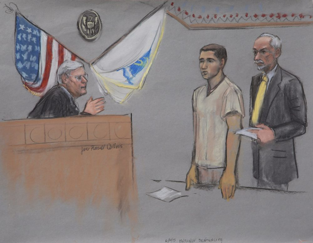 In this courtroom sketch, Khairullozhon Matanov is depicted during his sentencing in federal court in Boston Thursday. (Jane Flavell Collins/AP)