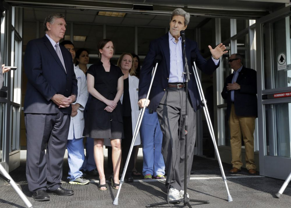 Secretary of State John Kerry speaks to media as he is discharged from Massachusetts General Hospital Friday. (Elise Amendola/AP)