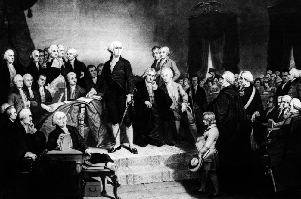 President George Washington delivers his inaugural address in the Senate Chamber of Old Federal Hall in New York on April 30, 1789.  (AP Photo)