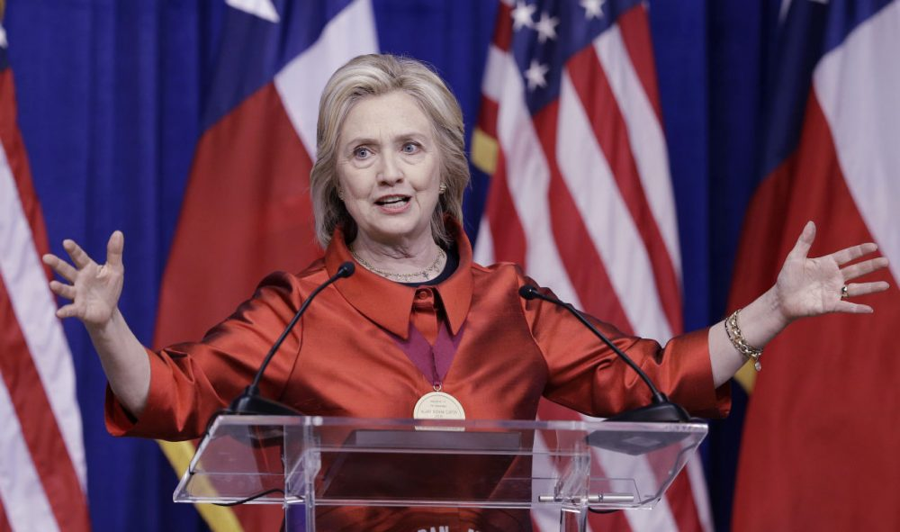 Democratic presidential candidate Hillary Rodham Clinton delivers a speech at Texas Southern University in Houston on Thursday. (Pat Sullivan/AP)