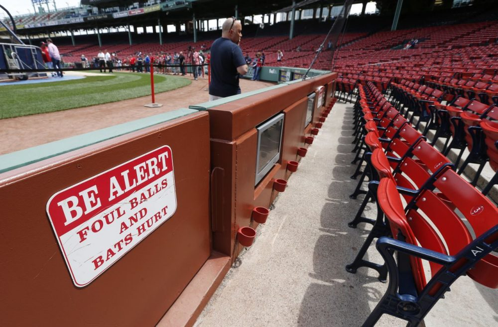 A warning sign in Fenway Park. (Michael Dwyer/AP)