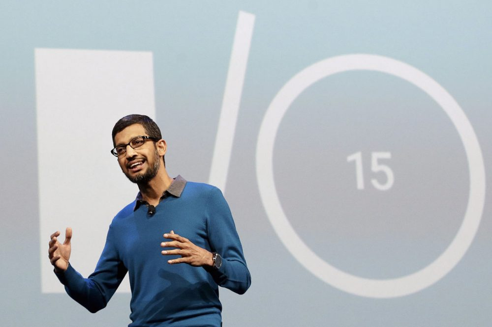 Sundar Pichai, senior vice president of Android, Chrome and Apps, speaks during the Google I/O 2015 keynote presentation in San Francisco, Thursday, May 28, 2015. Google I/O 2015 is also where the company unveiled its Photos service. (AP Photo/Jeff Chiu)