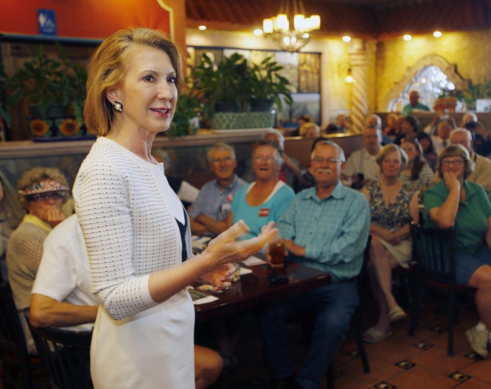 Republican presidential candidate Carly Fiorina, a former Hewlett-Packard CEO, speaks at a luncheon hosted by the Derry Republican Town Committee, on May 26, 2015, in Derry, N.H. (Jim Cole/AP)