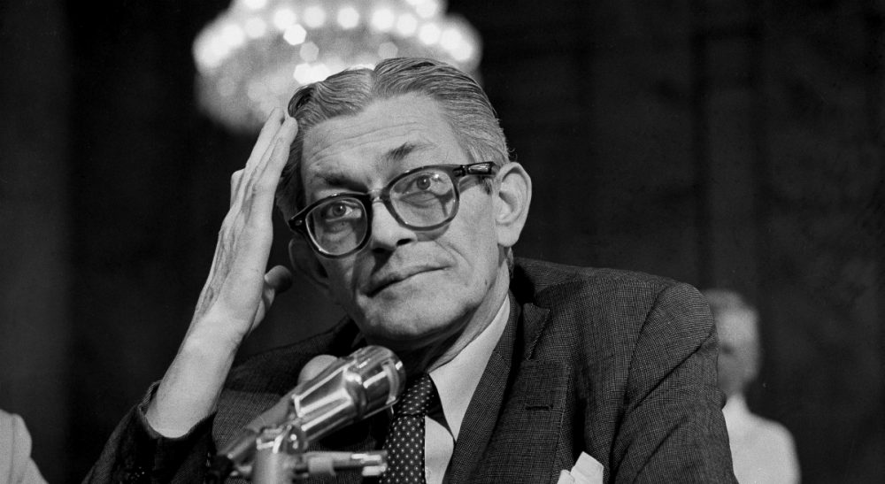 James Angleton, former chief of the Central Intelligence Agency's counterintelligence division, being questioned in Washington, D.C., Sept. 24, 1975, by Frank Church, (D-Idaho) chairman of the Senate Intelligence Committee. (Harvey Georges/AP)