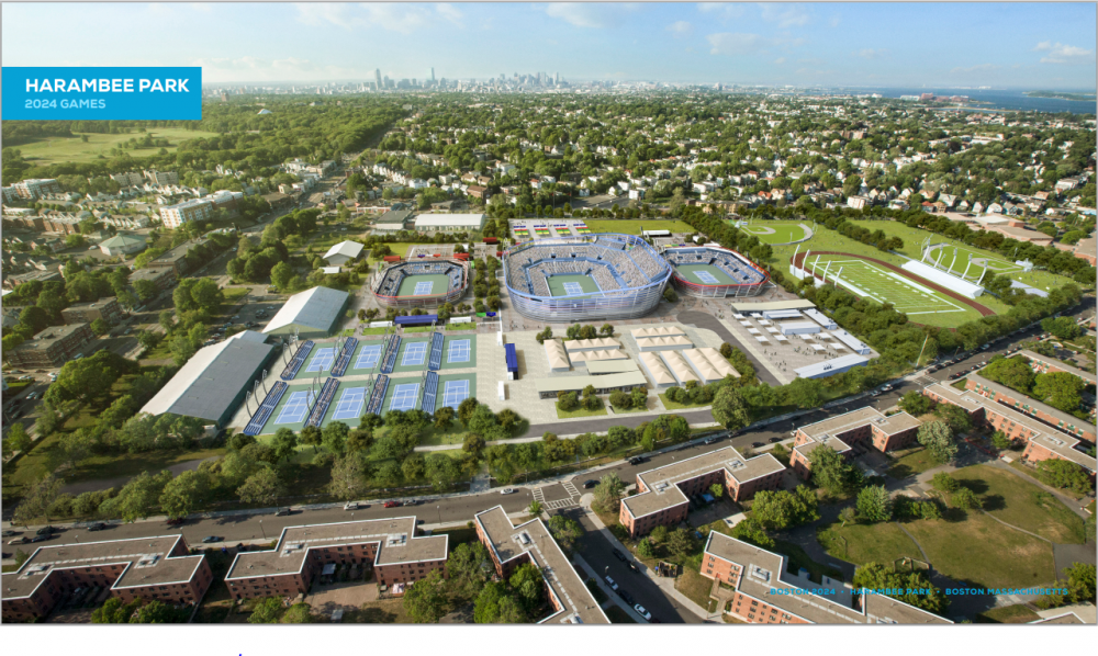 A rendering of what Harambee Park in Dorchester would look like during the 2024 Olympics, should Boston win the bid. (Courtesy Boston 2024)