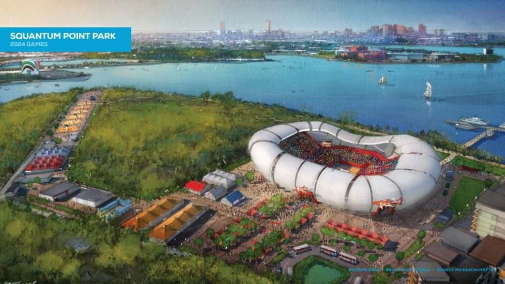 A rendering of Boston 2024's proposed beach volleyball venue in Quincy
