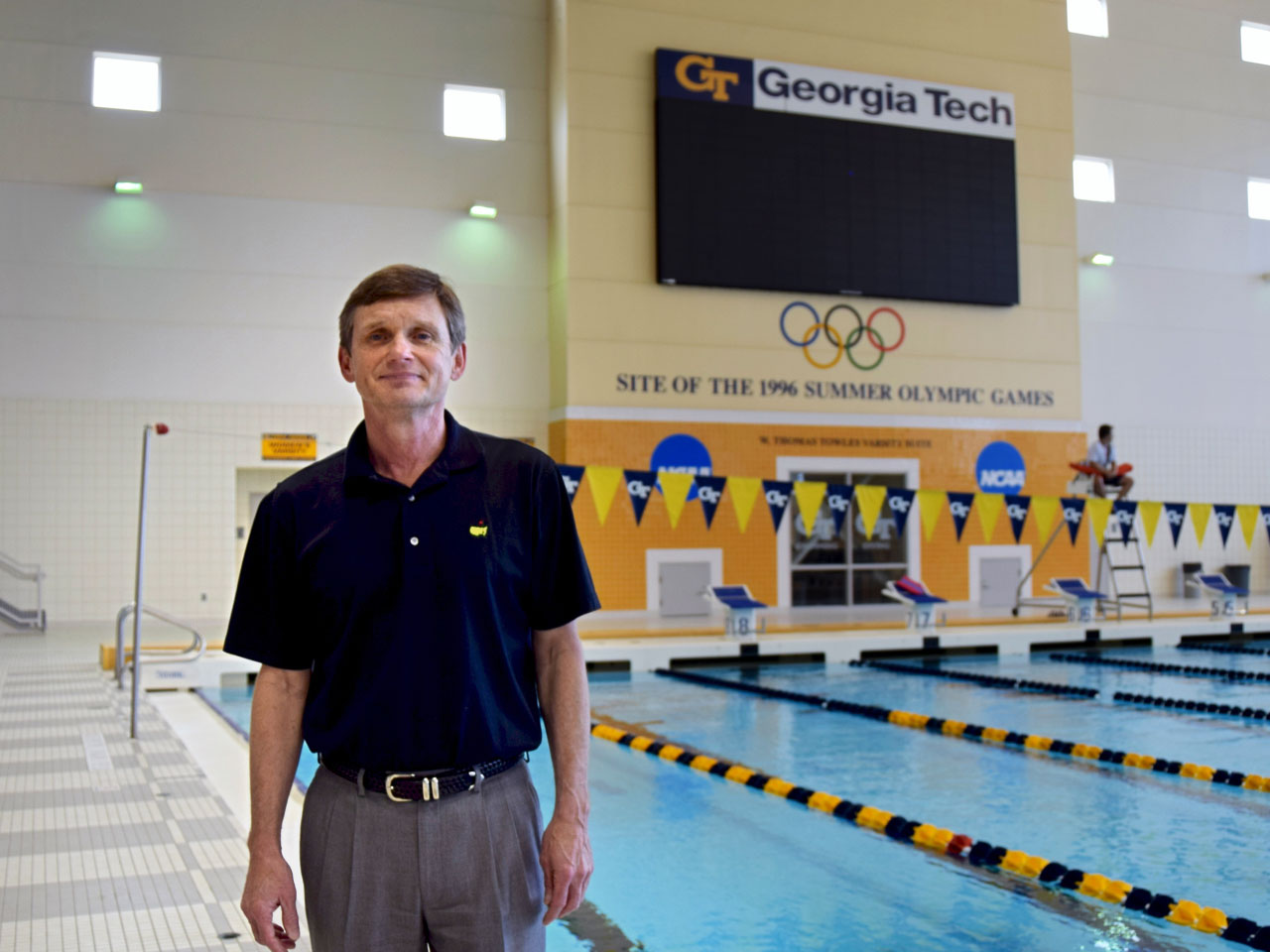 """""""I believe we got a pretty good return,"""" says Georgia Institute of Technology campus recreation director Mike Edwards, who managed the aquatics center during the 1996 Atlanta Olympics. (Alison Guillory for WBUR)"""