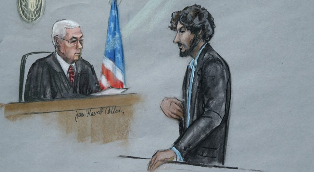 """Amée LaTour: """"Dzhokhar Tsarnaev...can now serve as a cautionary example to others: The resolve of ideology dissolves in the face of the concrete harm it attempts to legitimate."""" Pictured: In this courtroom sketch, Tsarnaev stands before U.S. District Judge George O'Toole Jr. as he addresses the court during his sentencing, Wednesday, June 24, 2015, in federal court in Boston. Tsarnaev apologized to the victims and their loved ones for the first time, just before the judge formally sentenced him to death. (Jane Flavell Collins/AP)"""