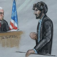 "Amée LaTour: ""Dzhokhar Tsarnaev...can now serve as a cautionary example to others: The resolve of ideology dissolves in the face of the concrete harm it attempts to legitimate."" Pictured: In this courtroom sketch, Tsarnaev stands before U.S. District Judge George O'Toole Jr. as he addresses the court during his sentencing, Wednesday, June 24, 2015, in federal court in Boston. Tsarnaev apologized to the victims and their loved ones for the first time, just before the judge formally sentenced him to death. (Jane Flavell Collins/AP)"