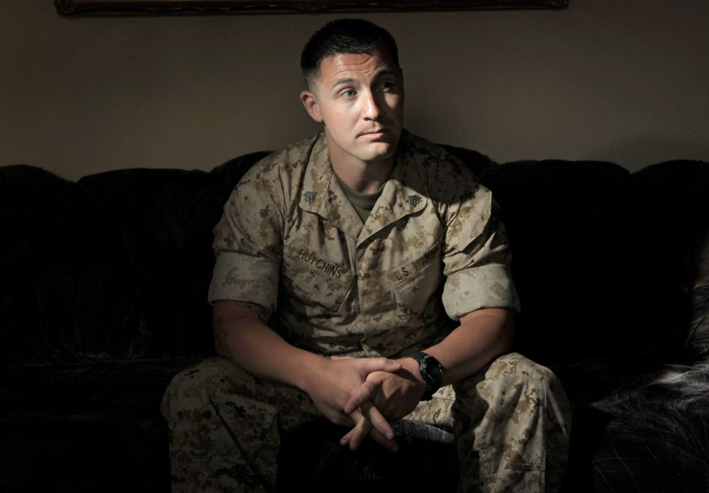 In this June 29, 2010, file photo, U.S. Marine Sgt. Lawrence Hutchins III poses for a portrait in Oceanside, California.  A third retrial is set to begin for Hutchins, of Plymouth, who convicted in a high-profile court martial case for the 2006 killing of an Iraqi civilian. (Adam Lau/AP)