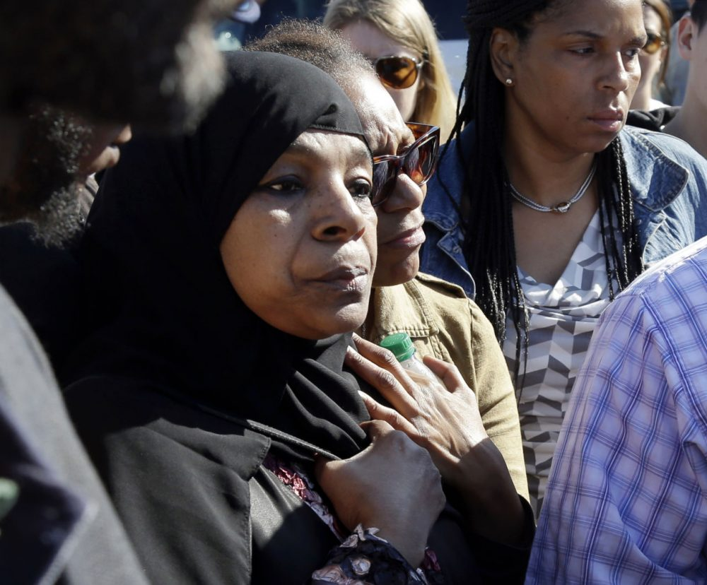 Rahimah Rahim, mother of shooting victim Usaama Rahim, during a news conference Thursday. (Elise Amendola/AP)