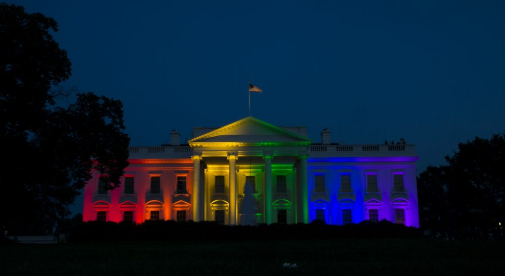 The White House is lit up in rainbow colors in commemoration of the Supreme Court's ruling to legalize same-sex marriage. Friday, June 26, 2015, in Washington. (Evan Vucci/AP)
