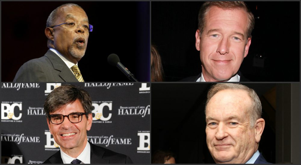 "Eileen McNamara: ""Apparently, star power trumps basic journalistic standards every time."" Pictured: Clockwise, from top left: Harvard University professor Henry Louis Gates, Jr., former NBC News anchor Brian Williams, Fox News Channel's Bill O'Reilly, and ABC News' George Stephanopoulos. (All photos AP)"