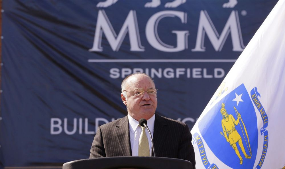 State Gaming Commission Chair Stephen Crosby speaks during a ground breaking ceremony in March for the MGM casino resort scheduled to open in Springfield in 2017. (Stephan Savoia/AP)
