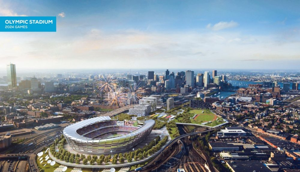 A rendering of the proposed Olympic Stadium, during the games (Boston 2024)