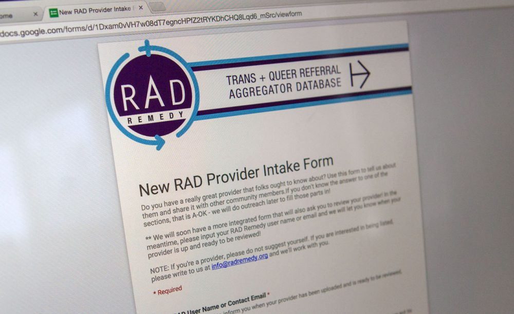 RAD Remedy pools and vets referral lists of doctors, nurses, dentists and more from LGBT organizations. (Jesse Costa/WBUR)