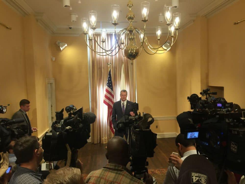 Gov. Baker talked Wednesday about the $38.1 billion budget. (Michael Norton/SHNS)