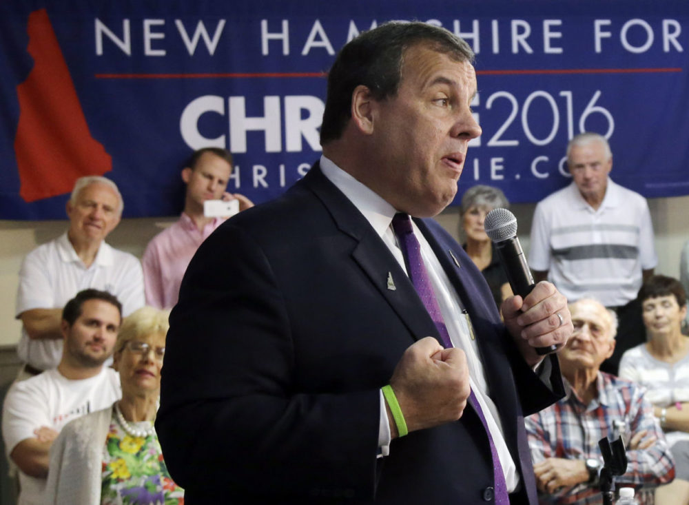 Republican presidential candidate, New Jersey Gov. Chris Christie -- who became the 14th 2016 presidential hopeful vying for the GOP nomination Tuesday --  speaks to potential voters during a campaign town hall meeting Thursday in Rochester, N.H. (Elise Amendola/AP)