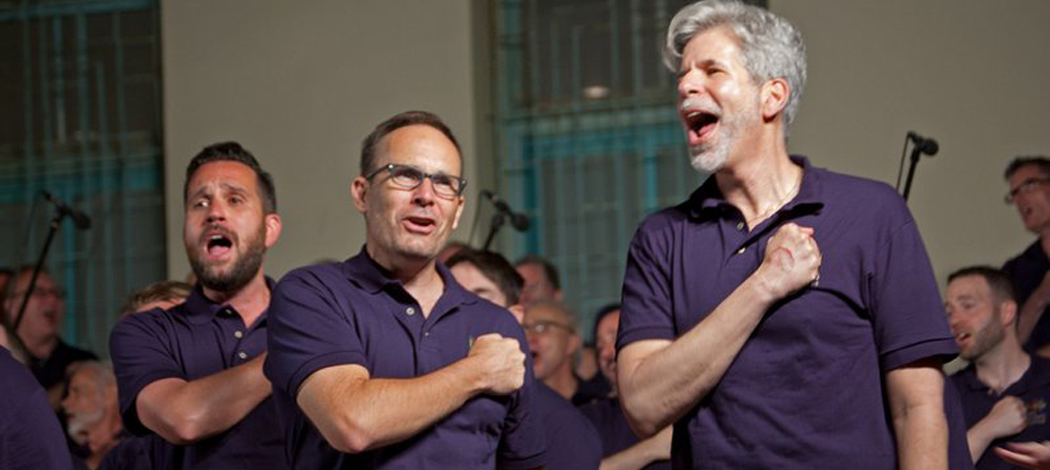 Boston Gay Men's Chorus members Michael Lombo, Peter Crosby and Jay Baer perform at the Suzanne Dellal Center in Tel Aviv. (Courtesy of Boston Gay Men's Chorus)