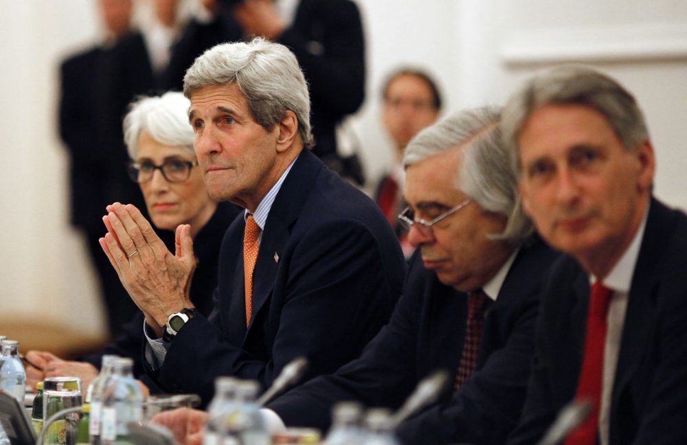U.S. Secretary of State John Kerry meets with foreign ministers of Germany, France, China, Britain, Russia and the European Union at a hotel in Vienna, Austria, Tuesday, July 7, 2015. Iran nuclear talks were in danger of busting through their second deadline in a week Tuesday, raising questions about the ability of world powers to cut off all Iranian pathways to a bomb through diplomacy, and testing the resolve of U.S. negotiators to walk away from the negotiation as they've threatened. (Carlos Barria/AP)