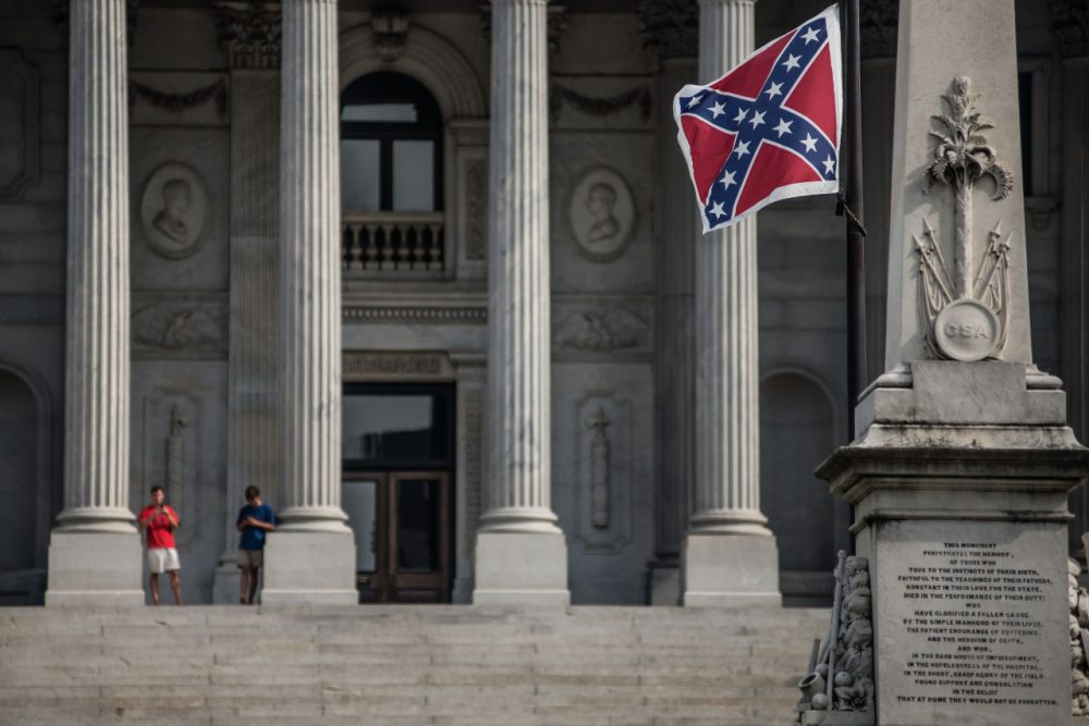 The Confederate battle flag flies at the South Carolina state house on July 8, 2015 in Columbia, South Carolina. (Sean Rayford/Getty Images)
