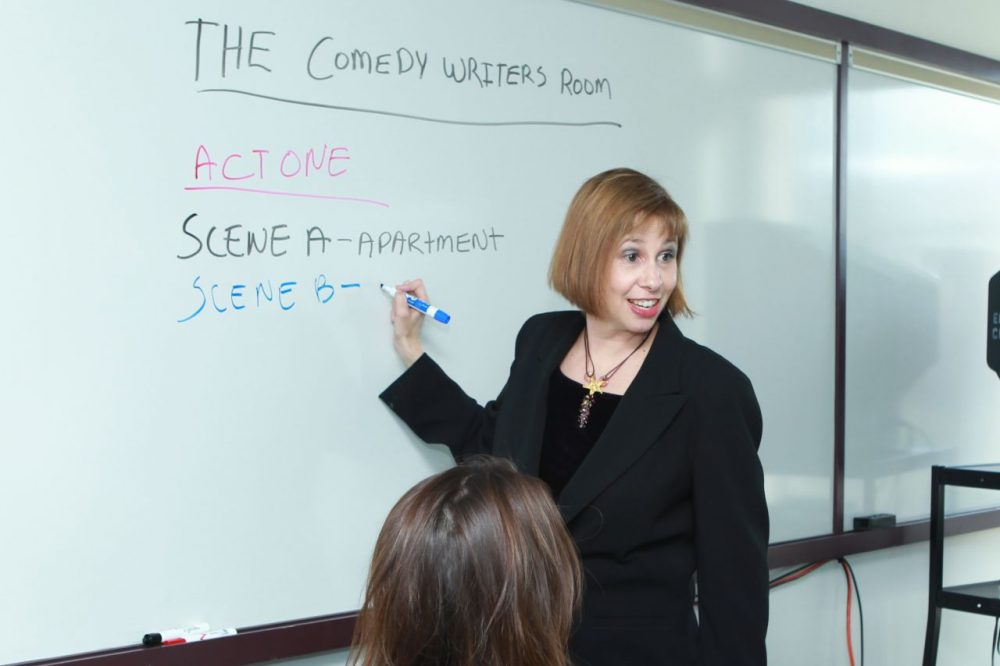 Martie Cook, who will direct Emerson College's comedic arts program, in the classroom teaching writing for television. (Courtesy Emerson College)