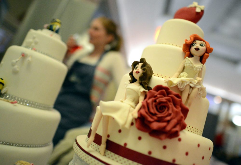 A same-sex wedding cake is pictured at the Gay Wedding Show at the Queens Hotel on March 2, 2014 in Leeds, England. (Nigel Roddis/Getty Images)