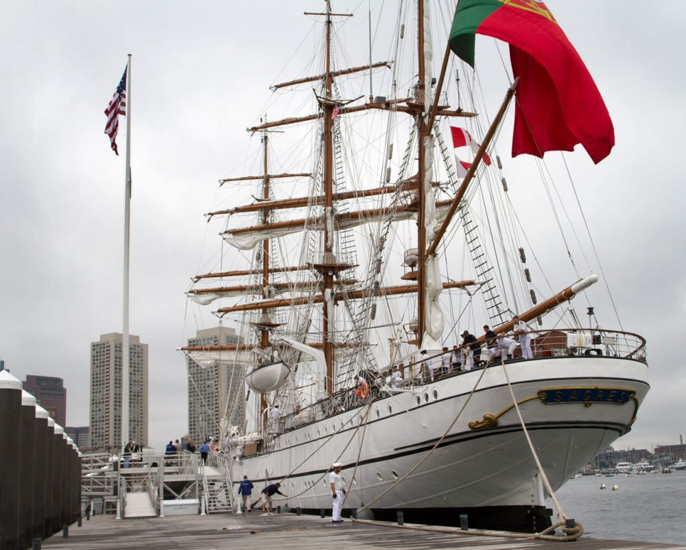 Portugal's Sagres is docked at the Fan Pier Marina in Boston on Friday. It's the second of three Tall Ships arriving this summer. (Hadley Green for WBUR)