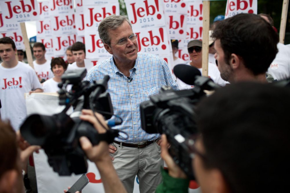 Republican Presidential candidate Jeb Bush speaks to the press at the 4th of July Parade in Merrimack, New Hampshire. (Kayana Szymczak/Getty Images)