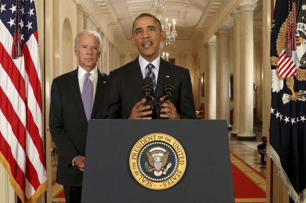 President Barack Obama, standing with Vice President Joe Biden, conducts a press conference in the East Room of the White House in response to the Iran Nuclear Deal, on July 14, 2015 in Washington, DC. The landmark deal will limit Iran's nuclear program in exchange for relief from international sanctions. The agreement, which comes after almost two years of diplomacy, has also been praised by Iranian President Hassan Rouhani. (Andrew Harnik/Getty Images)