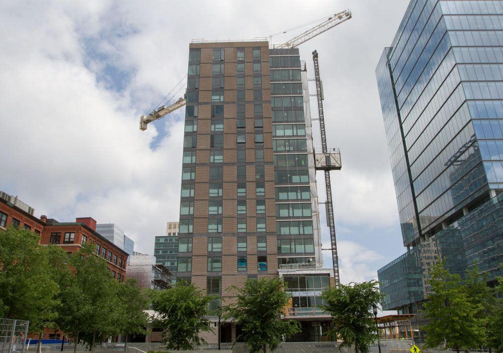 The Watermark Seaport, a residential building, is currently under construction. (Hadley Green for WBUR).