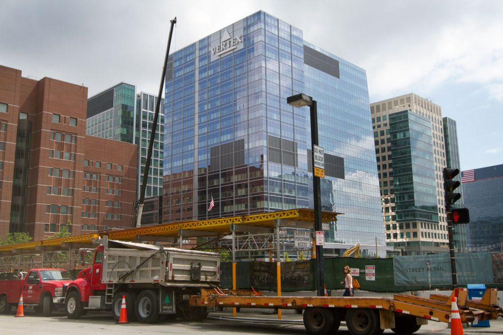The Vertex Pharmaceutical building in the Seaport district. (Hadley Green for WBUR).