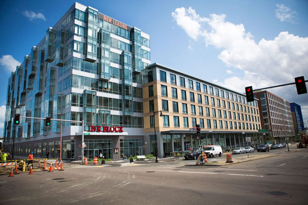 What used to be the Boston Herald is now the location of the Ink Block apartments in the South End on Harrison Ave. (Jesse Costa/WBUR)