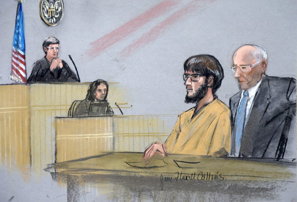 In this courtroom sketch, Alexander Ciccolo, second from right, is depicted with his attorney David Hoose, right, during a bail hearing Tuesday, July 14, 2015, in federal court in Springfield, Mass. (Jane Flavell Collins via AP)