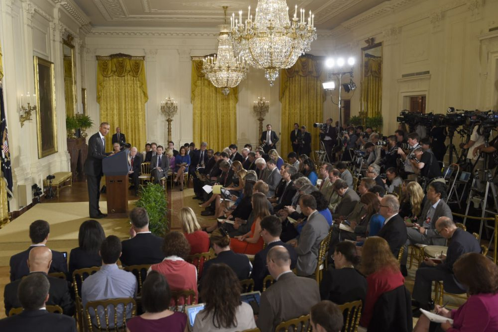 President Obama makes opening remarks during a news conference in the East Room of the White House in Washington on  July 15, 2015. (Susan Walsh/AP)