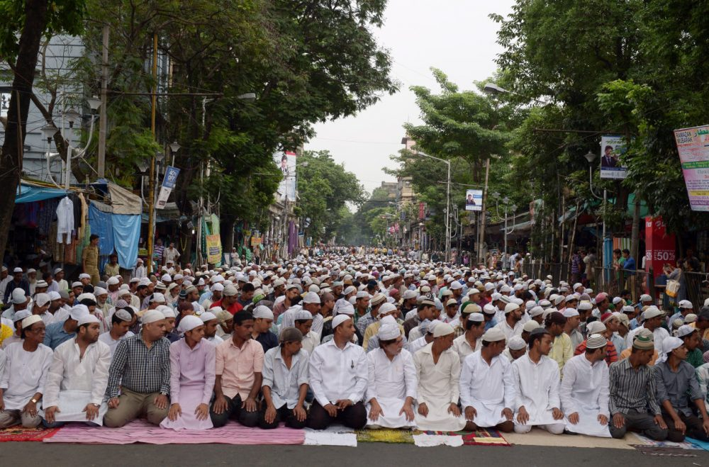 Indian Muslims attend the last Friday prayers of the holy month of Ramadan, in Kolkata on July 17, 2015. (Dibyangshu Sarkar/AFP/Getty Images)