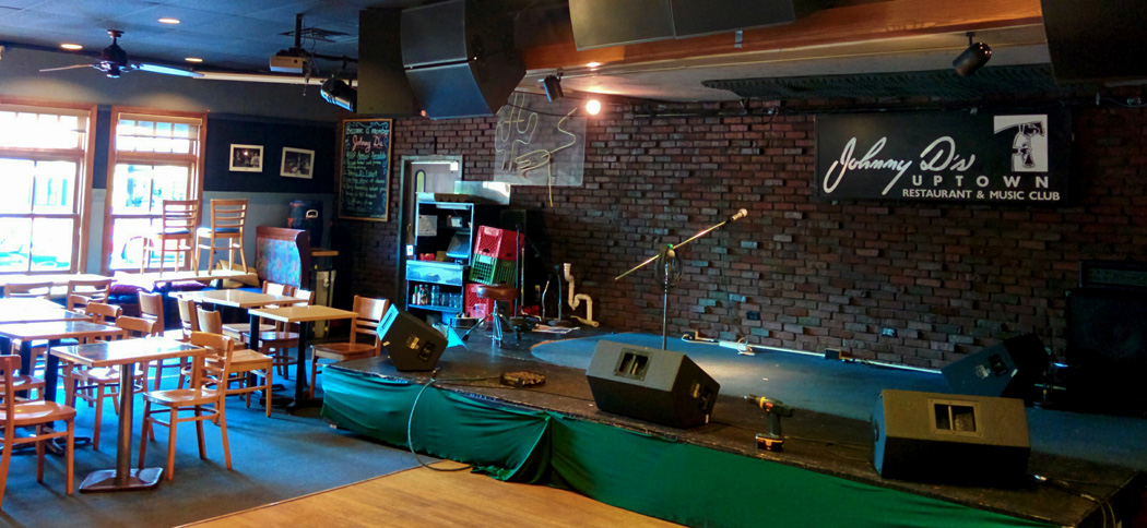 The stage at Johnny D's in Somerville, which will close in 2016. (Justin Perro for WBUR)