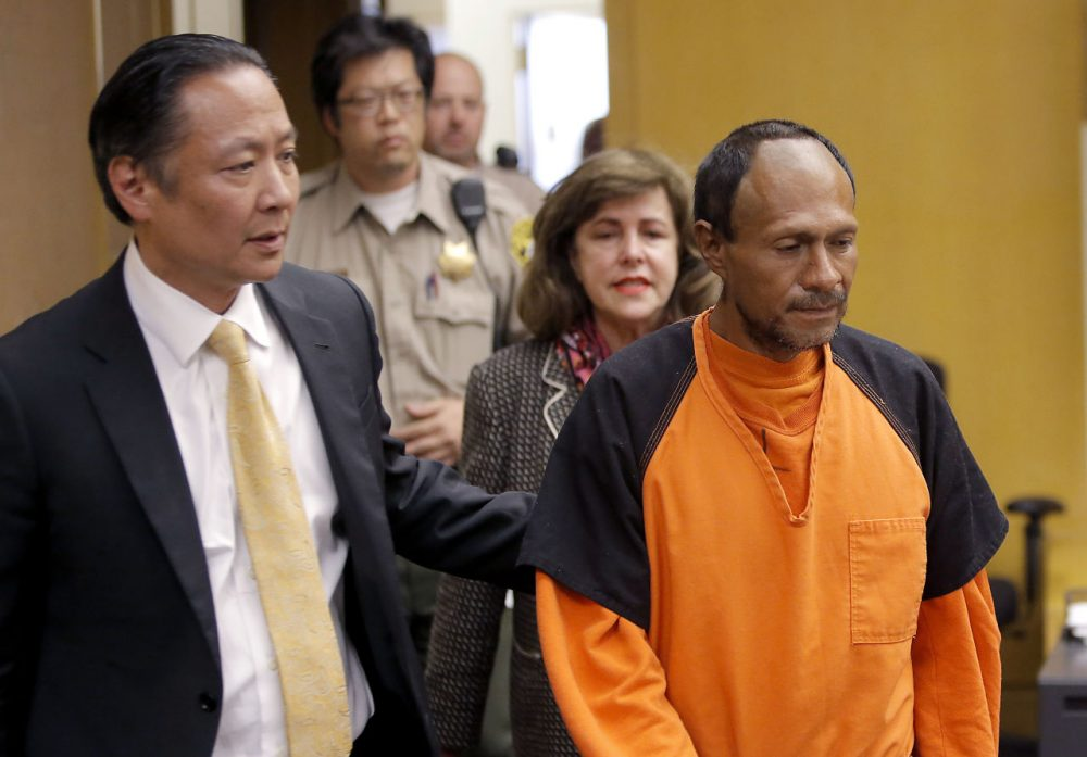Juan Francisco Lopez-Sanchez is lead into the courtroom at the Hall of Justice in San Francisco. He's a suspect in the shooting death of 32-year-old Kathryn Steinle, who was walking on a San Francisco pier. (Michael Macor/San Francisco Chronicle via AP, Pool, File)