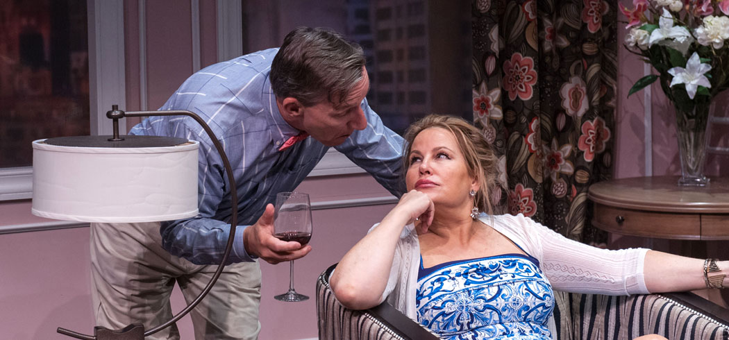 """Alexander Cook and Jennifer Coolidge in Central Square Theater's production of """"Saving Kitty."""" (A.R. Sinclair Photograph)"""