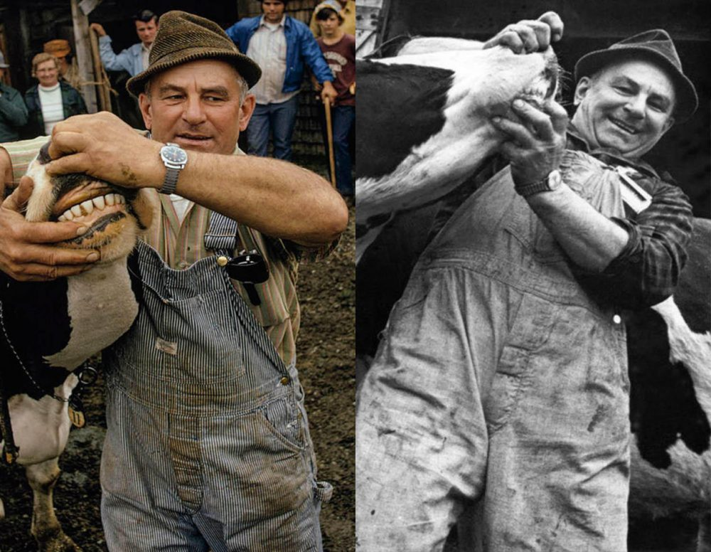 Willis Hicks, an auctioneer who ran the Commission Sales in Cadys Falls, drew crowds at his auctions and caught the eye of not one, but two photographers: Nathan Benn, of National Geographic, and Vermont photographer Peter Miller. (Photo on the left by Nathan Benn/National Geographic. Photo on the right by Peter Miller/Vermont People)